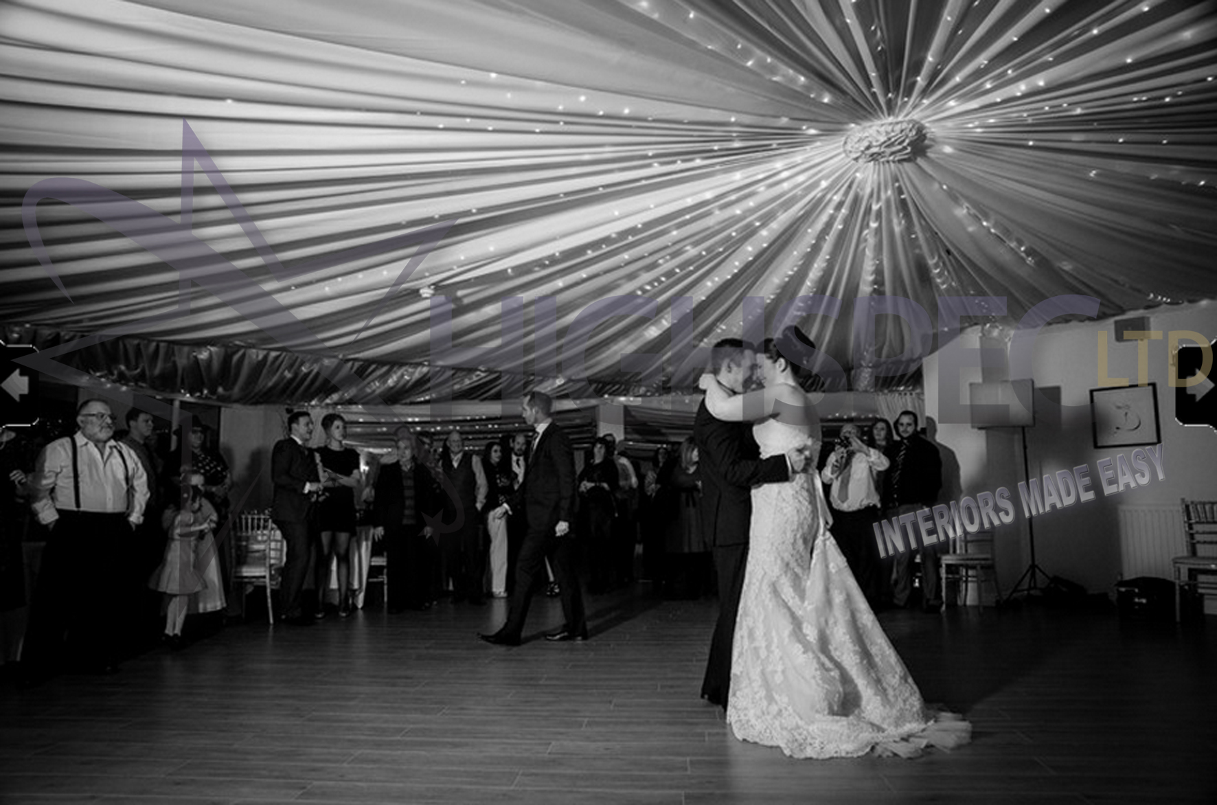 Venue draping - Fairylight ceiling drape
