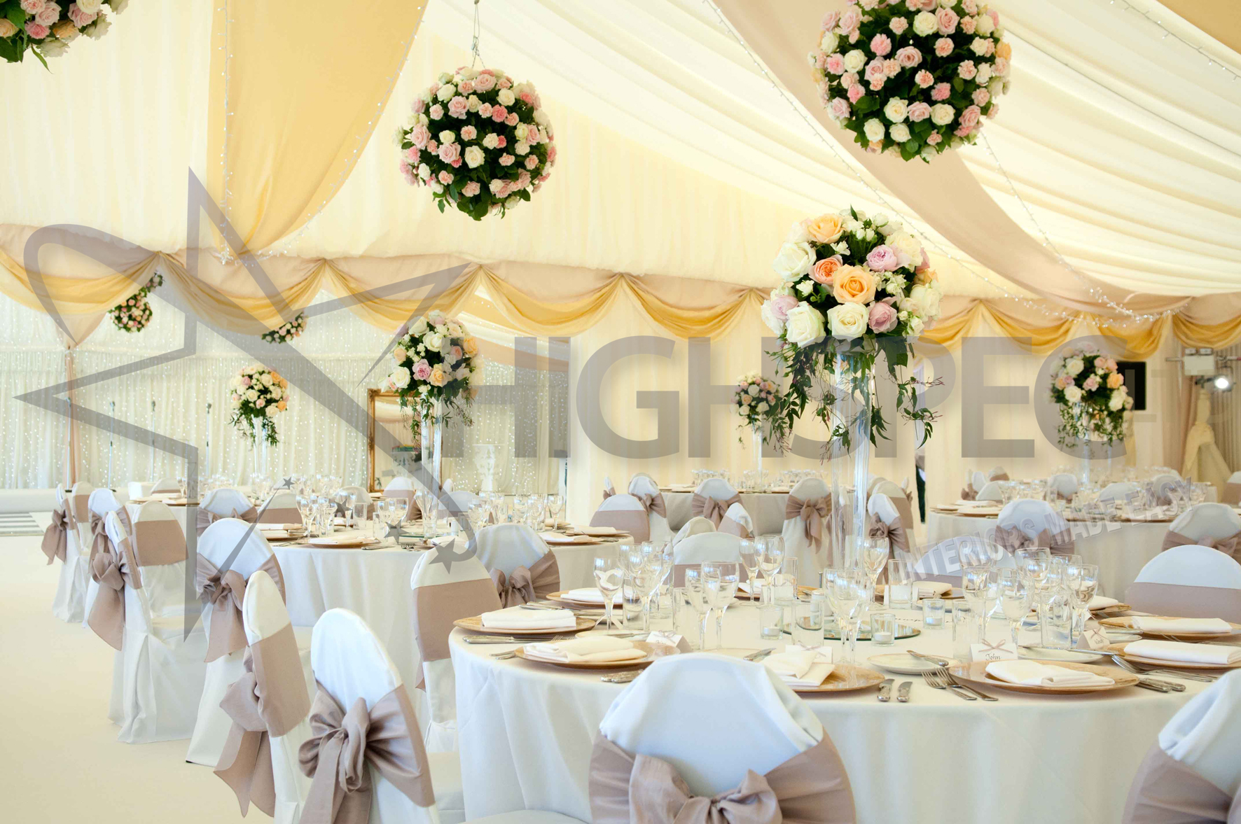 Pleated marquee lining decor