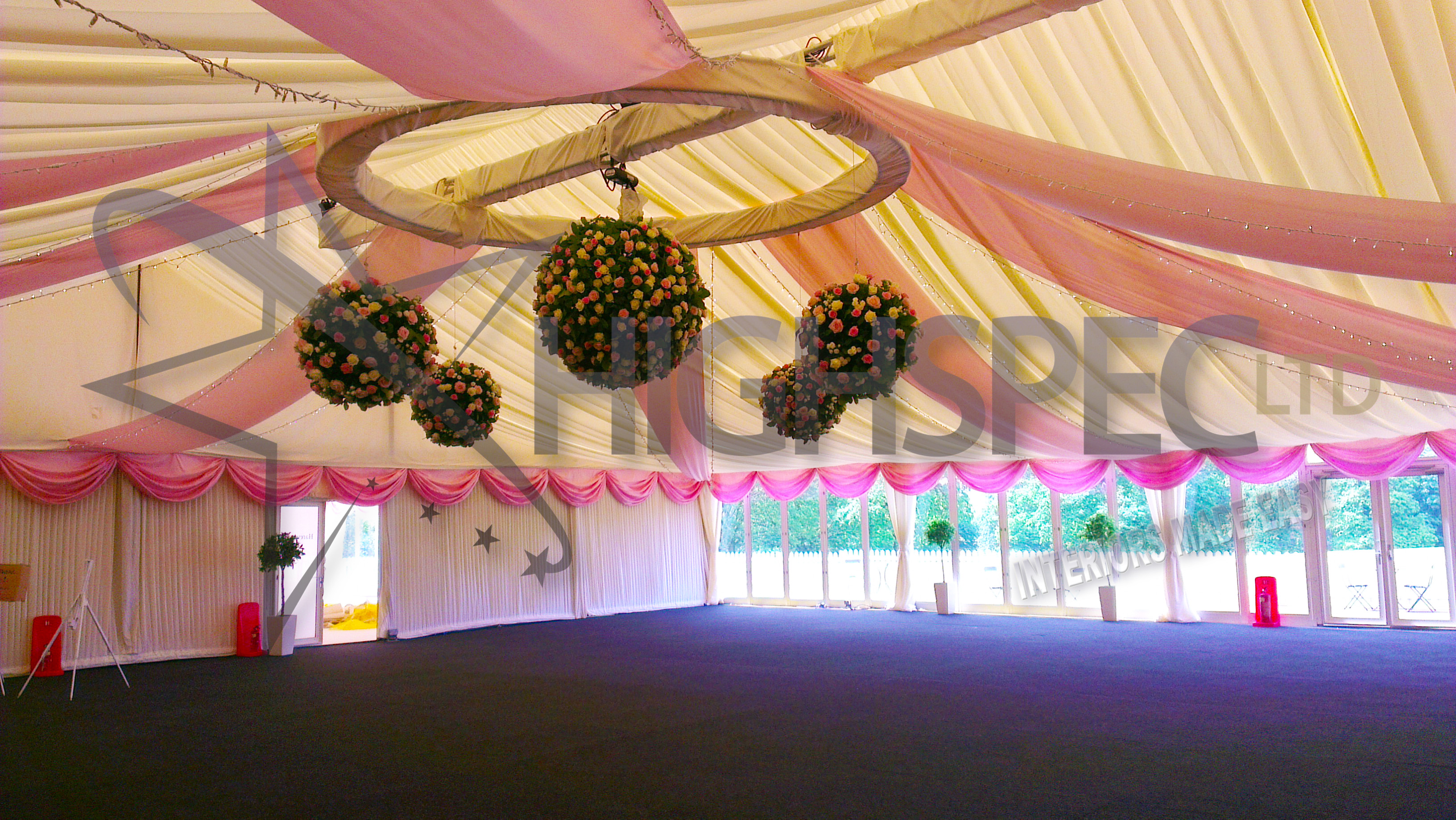 Pleated marquee ceiling decor
