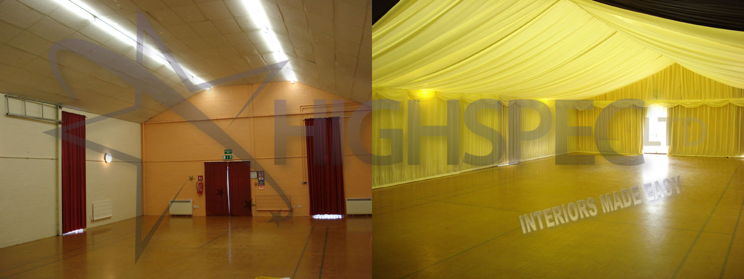 Venue draping - Village hall draping decor