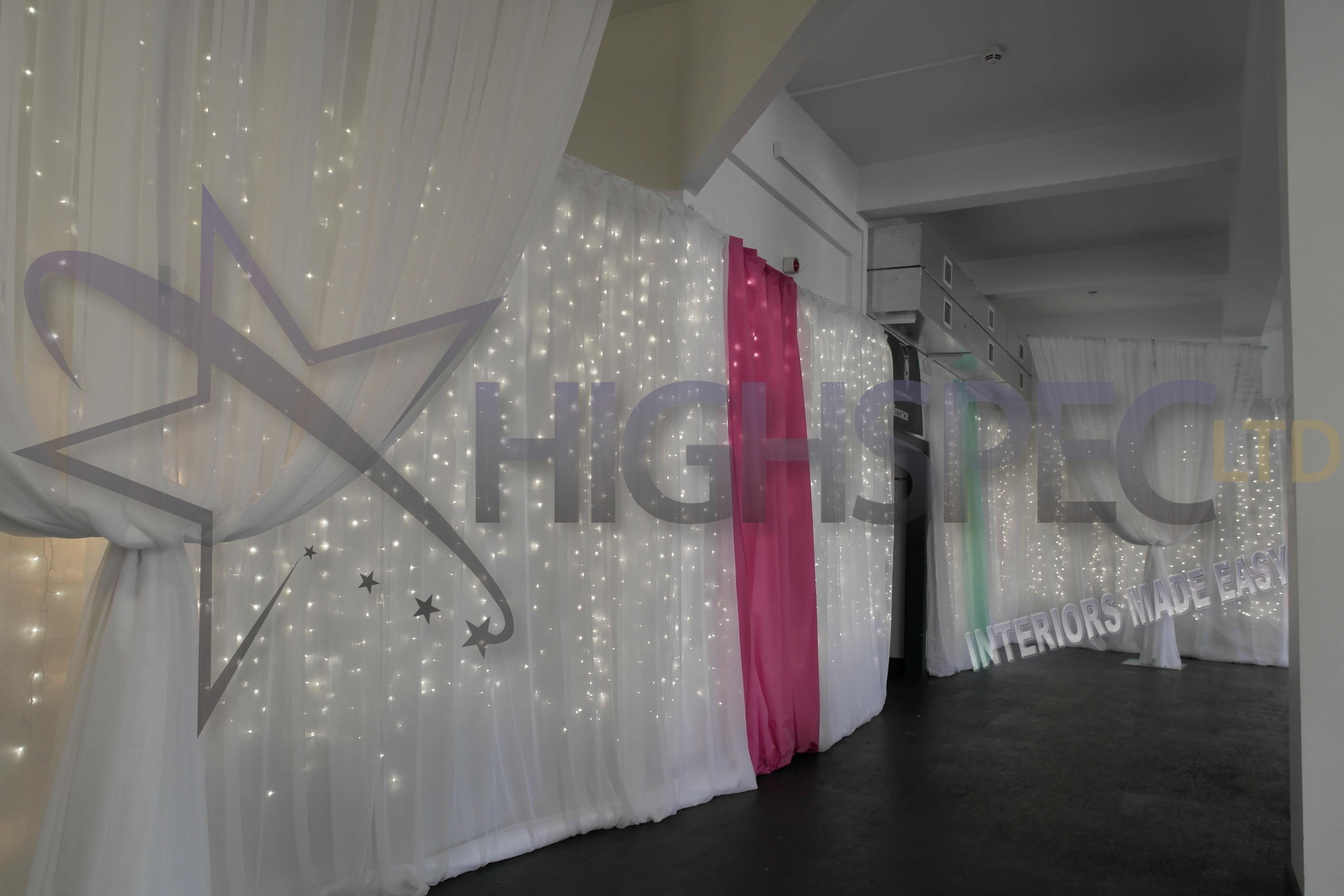 Fairylight backdrop organza