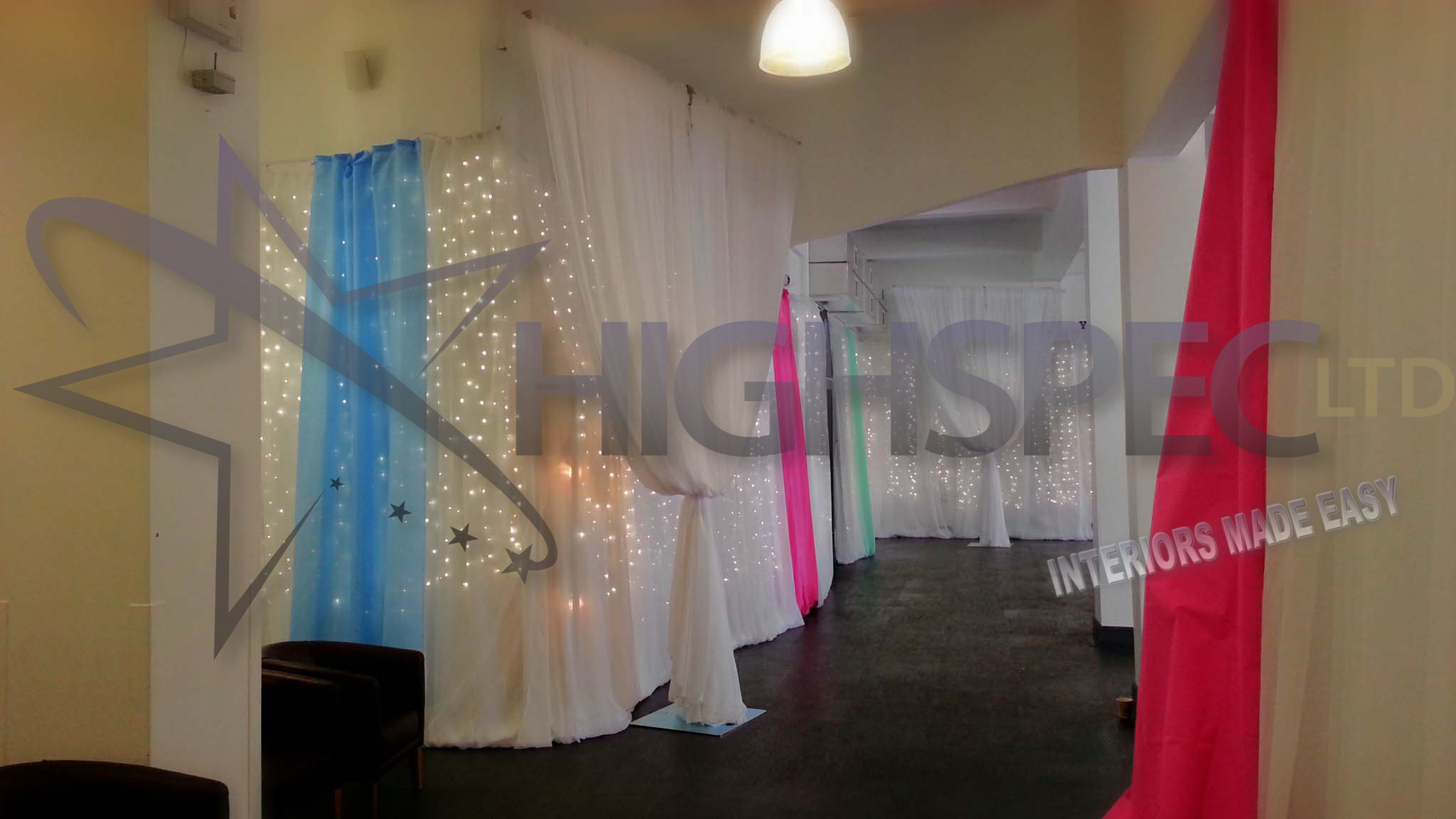 Fairylight backdrop organza