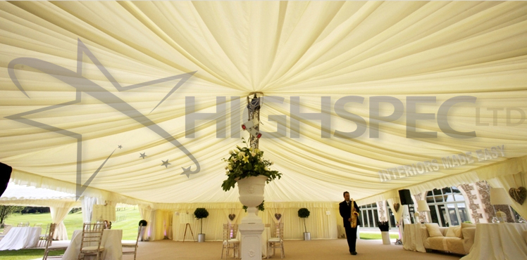 Pleated marquee roof decor