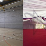 Sports hall venue lining