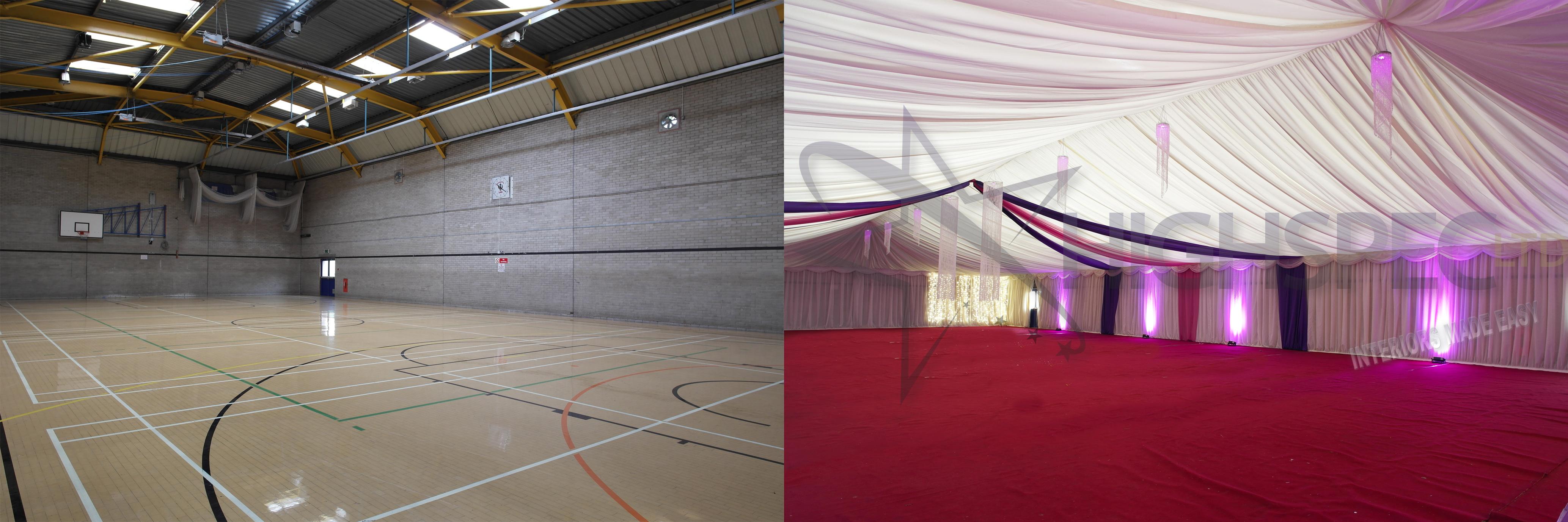 Sports hall venue lining